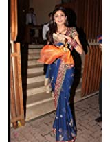 bollywood replica Shilpa Shetty Blue Chiffon Saree with Marron Designer Brocade