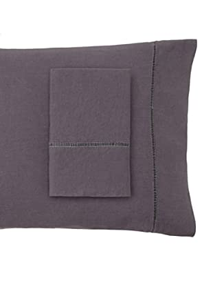 Mélange Pair of Linen Ladder Hemstitch Pillowcases