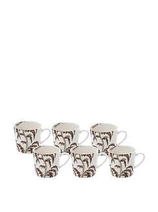 Elinno Set of 6 Morning Flirt Mugs, White/Multi, 3.5