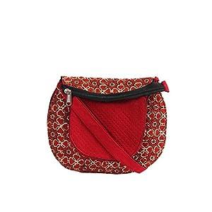 EthnicShack Maroon Cotton Ajrakh Printed Cross Body Bag