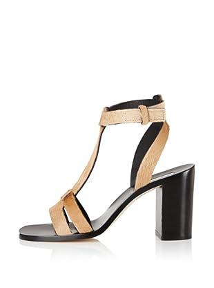 Calvin Klein Collection Women's Ferra T-Strap Sandal, Gold Haircalf (Gold Haircalf)