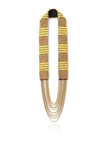 La Croix Rousse Beaded Chain Necklace, Gold/Copper