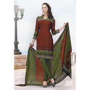 Elegant crepe designer prints unstitched salwar kameez suit d.no 7154