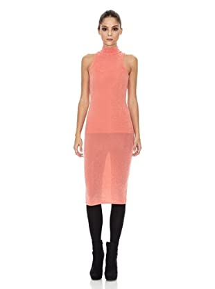Rare London Vestido Metallic Midi (Coral)