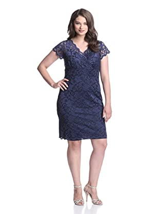 Marina Plus Women's V-Neck Lace Dress (Navy)