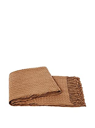 a & R Cashmere Waffleweave Throw, Camel