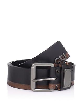 Calvin Klein Men's Flat Strap Belt with Logo (Black)