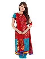 3Pce Suit - Chinese Red Cotton Printed Kurta, Chudi and Cotton Dupatta