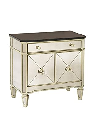 Bassett Mirror Company Borghese Chairside Commode, Silver Leaf
