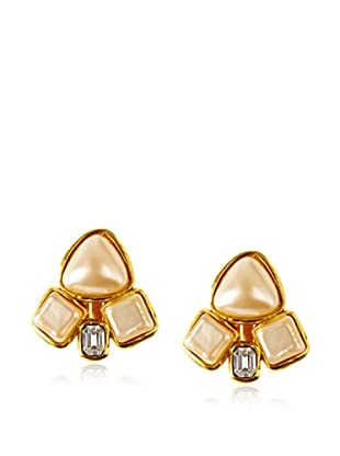 CHANEL Faux Pearl Cluster Clip Earrings