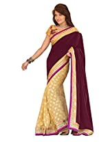 Trynget'S Maroon & Golden Color Half-Half Branded Saree