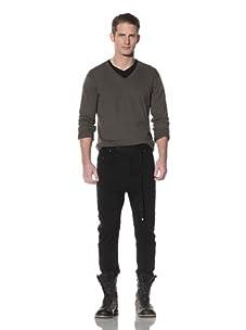 Cotte D'Armes Men's Drop Crotch Terry Sweat with Tuxedo Strip (Black)