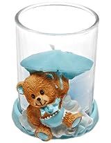 Forum Novelties It's a Boy Baby Blue Teddy Bear Candle Holder Shower Party Favor Decoration