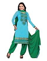 BanoRani Womens Sky Blue & Green Color Chanderi & Embroidered UnStitched salwar Suit Dress Material