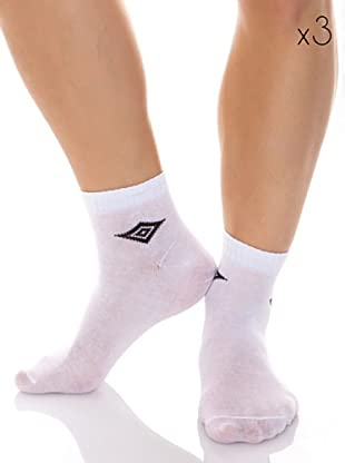 Umbro Pack 3 Pares Calcetines Tobilleros (Blanco)