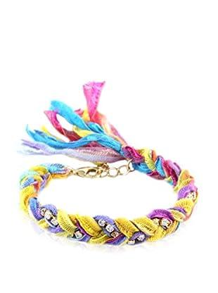 Ettika Multi Neon Braided Vintage Ribbon & Rhinestone Bracelet