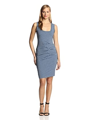 Nicole Miller Women's Stretchy Stripe Jersey Dress (Black/Blue)