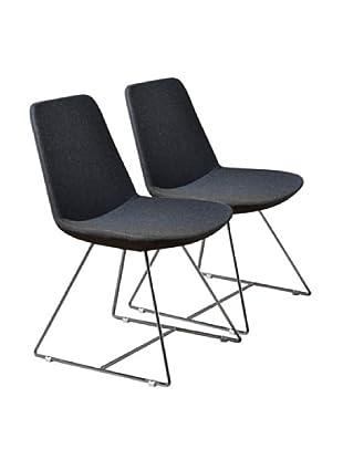 Aeon Furniture Set of 2 Karen Side Chairs, Grey