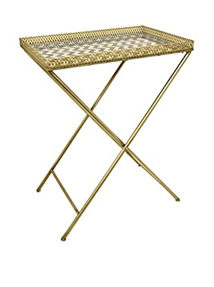 Three Hands Metal/Mirror Table, Gold