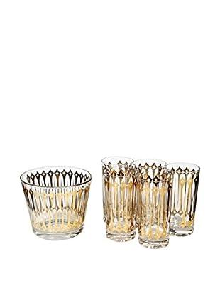 1960s 6-Piece Gold Atomic Beverage Set