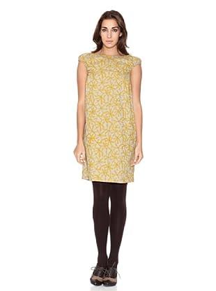 SIYU Vestido Flores Geométricas Manga Corta (Amarillo/Gris)
