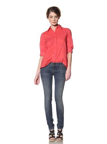 Nola Z Women's High-Low Swing Button-Front Shirt (Pink)