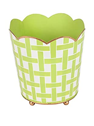 Jayes Basketweave Decorative Cachepot, Green