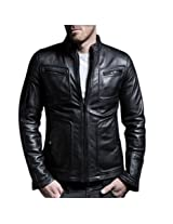 Iftekhar Men's Pure leather Jacket - Black - (Iftekhar37 - S)