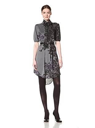 Jessica Simpson Women's Printed Shirt Dress with Pockets (Eucalyptus Dark Slate)