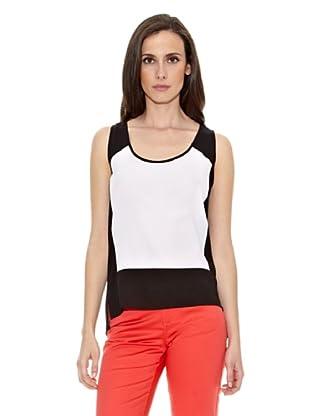 Cortefiel Camiseta Bcolor Sin Mang (Negro / Blanco)
