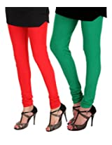 Itnol Girls Cotton Leggings -Red / Parrot Green -Xx-Large