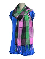 Sofias Exclusive Viscose Woven Medium Shawl,Size-70 cms x 200 cms,Color-Pink / Green