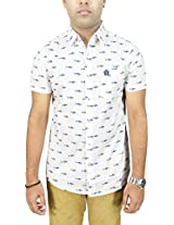 AA' Southbay Men's White Shark Print 100% Cotton Half Sleeve Casual Shirt