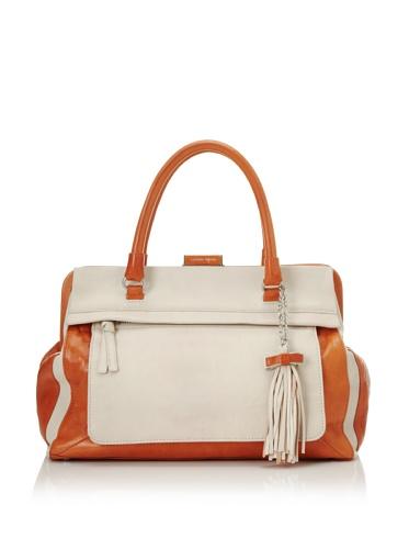 Nanette Lepore Colorblock Satchel (Orange/Off-White)
