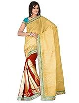 Sehgall Saree Indian Bollywood Designer Ethnic Professional Designer Half Jute and Half Georgette Saree Gold-Red