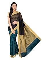 Korni Cotton Silk Banarasi Saree SHDEQ-152- Blue/Blk KR0478