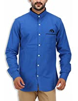 SPEAK Men's Cotton Twill Checks Mandarin / Chinese Collar Shirt (44, Royal Blue)