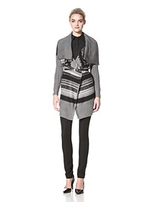 Dex Women's Draped Cardigan (Grey Jacquard)