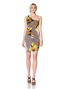 Muse Women's Feather Printed Halter Dress (Yellow/Multi)