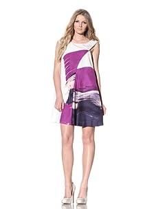 Chloé Women's Asymmetrical Watercolor Print Dress (Purple)