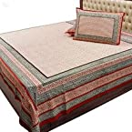 Double Bed Sheet Set Hand Block Print Cream & Red