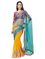 Admyrin Yellow and Aqua Georgette Net Saree with Red Blouse