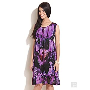 Abstract Floral Print Dress-Purple-XS