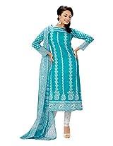 Rajnandini Women's cotton Printed Unstitched salwar suit Dress Material (Aqua Blue _Free Size)