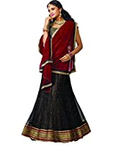 MELLUHA Black Net Embroidered Butti Work Lehenga