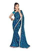 Fabdeal Branded Indian Women Sari Wear Printed Blue (KRFSR350BAL)