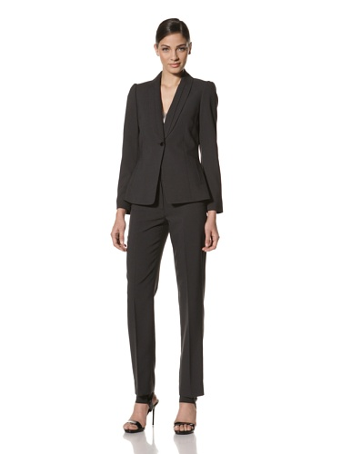Tahari by A.S.L. Women's Shawl Collar Pant Suit (Navy/White)