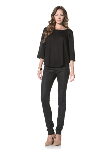 Twenty Tees Women's Half Sleeve Top (Black)
