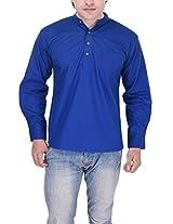 Kalrav Fashion Solid Royal Blue Cotton Kurta