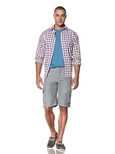 EQ Men's Linen Drawstring Cargo Short (Grey)
